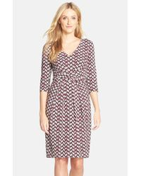 NYDJ | Purple Print Jersey Sheath Dress | Lyst