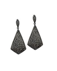 Lord & Taylor | Sterling Silver And Black Rhodium Crystal Drop Earrings | Lyst