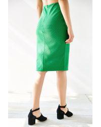 Silence + Noise Green Revolt Striped Midi Skirt