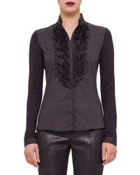 Akris Punto - Black Embellished Button-front Shirt - Lyst