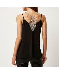 River Island | Metallic Gold Tone Embellished Front And Back Necklace | Lyst