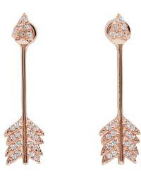 Pamela Love | Pink Rose Gold Shooting Arrow Earrings | Lyst