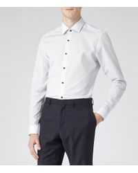 Reiss - White Astaire Slim Dotted Shirt for Men - Lyst