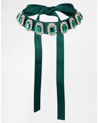ASOS | Green Emerald Jewel Ribbon Choker Necklace | Lyst