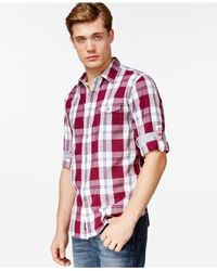 DKNY | Red Plaid Shirt for Men | Lyst
