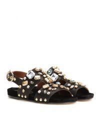 Dolce & Gabbana Black Embellished Satin Sandals