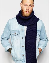 ASOS - Blue Scarf In Navy for Men - Lyst