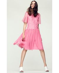 Rebecca Taylor Pink Short Sleeve Floral Embroidery Dress