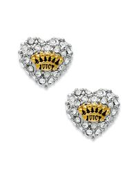 Juicy Couture | Metallic Goldtone Pave Heart Stud Earrings | Lyst