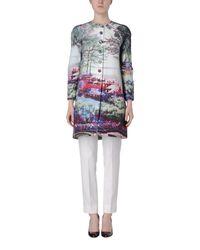 Mary Katrantzou Green Floral Print Button Coat