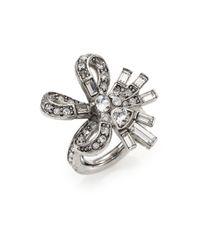 Oscar de la Renta | Metallic Floral Baguette Crystal Cocktail Ring | Lyst