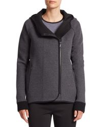 Elie Tahari | Gray Margie Hooded Zip-front Jacket | Lyst