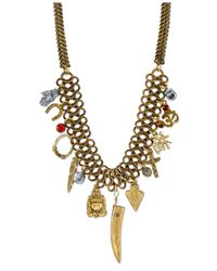 Tru. - Metallic Gold-tone Multi-charm Frontal Necklace - Lyst