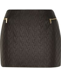 River Island - Black Quilted Leather-look Mini Skirt - Lyst