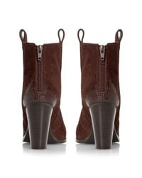 Dune | Brown Peridot Side Tab Stacked Heel | Lyst