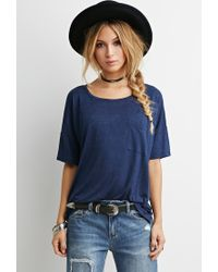 Forever 21 | Blue Drapey Pocket Tee | Lyst