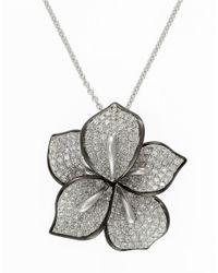 Effy | Metallic Diamond And 14k White Gold Flower Necklace, 0.99 Tcw | Lyst