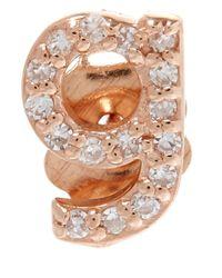 KC Designs - Pink Rose Gold Diamond G Single Stud Earring - Lyst