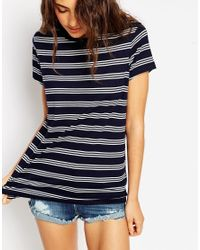 ASOS - Black T-shirt With Crew Neck In Stripe - Lyst