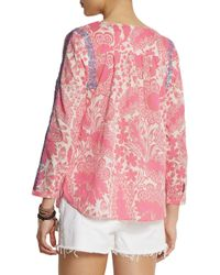 J.Crew Blue Embroidered Printed Cotton Top