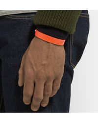 Valextra Orange Pebbled-Leather Bracelet for men
