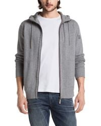 BOSS Orange - Gray Hooded Sweatshirt Jacket 'ztylo 1' In Cotton for Men - Lyst