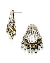 BaubleBar | Metallic 'chrysler' Pave Stud Earrings - Clear/ Antique Gold | Lyst