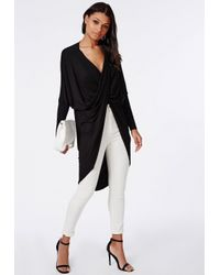Missguided - Longline Wrap Front Jersey Top Black - Lyst