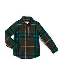 Burberry Brit - Green Fred Mini Long-sleeve Check Shirt for Men - Lyst