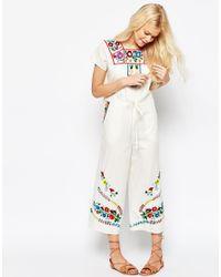 ASOS Multicolor Embroidered Drawstring Jumpsuit - Cream