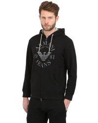 Armani Jeans - Black Cotton Fleece Hooded Zip Up Sweatshirt for Men - Lyst