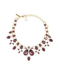Oscar de la Renta Purple Embellished Necklace
