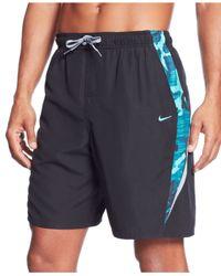 "Nike Blue Zephyr Camo Splice 9"" Volley Swim Shorts for men"