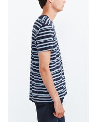 BDG | Blue Vale Heather Stripe Standard-fit V-neck Tee for Men | Lyst