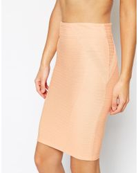 ASOS | Red Pencil Skirt In Bandage Rib | Lyst