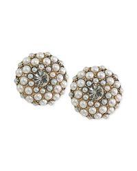 Carolee - White 14k Antique Goldtone Imitation Pearl Button Clipon Earrings - Lyst