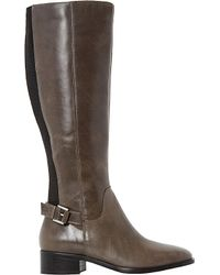 Dune Gray Vinny Leather Knee-high Boots