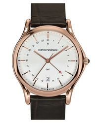 Emporio Armani | Brown Gmt Leather Strap Watch for Men | Lyst