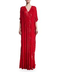 Naeem Khan - Red Sequined V-neck Silk Caftan - Lyst