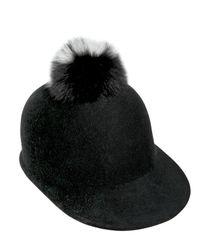 Eugenia Kim Black Bo Wool & Fox Fur Pom-pom Baseball Cap