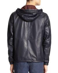 Vince - Blue Hooded Reversible Leather Jacket for Men - Lyst