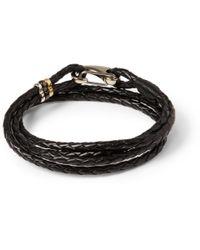 Paul Smith Black Wovenleather Wrap Bracelet for men