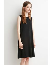 Forever 21 - Black Padded-shoulders Trapeze Dress - Lyst
