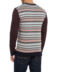 Native Youth Black Fair Isle Contrast Sleeve Jumper for men