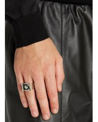 Versus - Black Silver Tone Lion Ring - Lyst