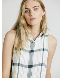 Free People | White Womens Mock Neck Plaid Tank | Lyst