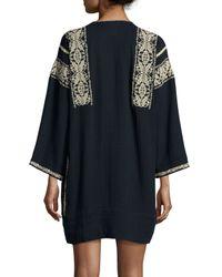Étoile Isabel Marant - Black Vinny Embroidered Tassel Tunic - Lyst