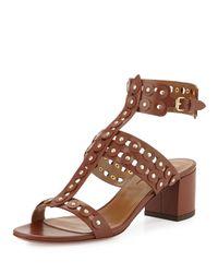 Aquazzura Brown Rebel Studded Leather Sandal