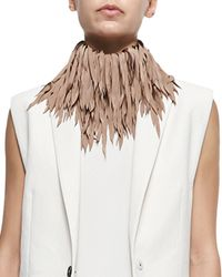 Brunello Cucinelli Natural Feathered Silk Fringe Necklace