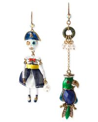 Betsey Johnson - Multicolor Gold-Tone Pirate Skeleton And Parrot Mismatch Earrings - Lyst